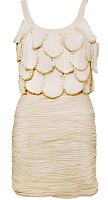 vestidos dorados y blancos