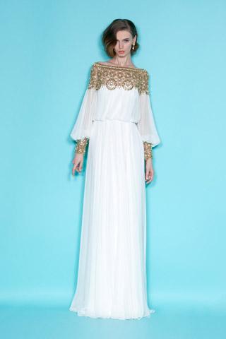 vestidos blanco y dorado