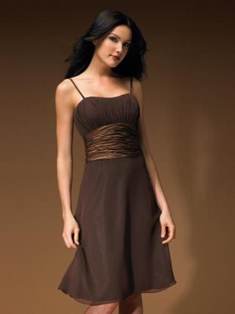 vestidos cortos color marrón