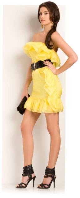 vestidos drapeados color amarillo