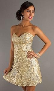 vestidos de fiesta color dorado