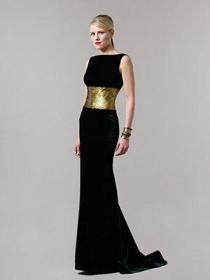Vestidos de noche en negro y dorado