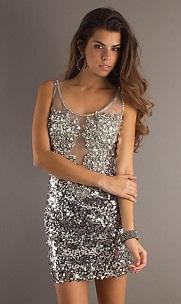Vestidos de noche cortos color plata