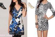 Mini vestidos combinados con tacones altos