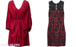 vestidos drapeados color rojo