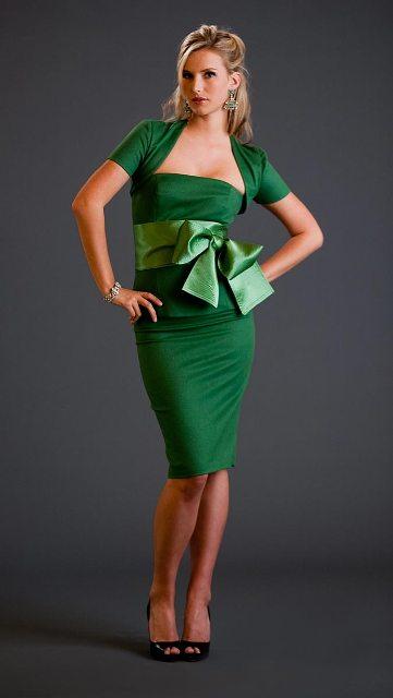 vestidos modernos color verde