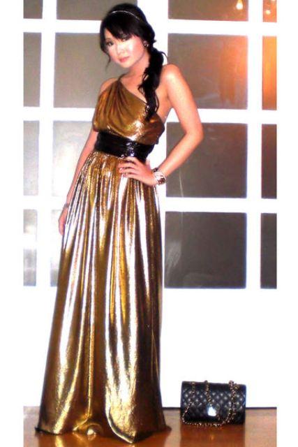 vestidos largos color dorado