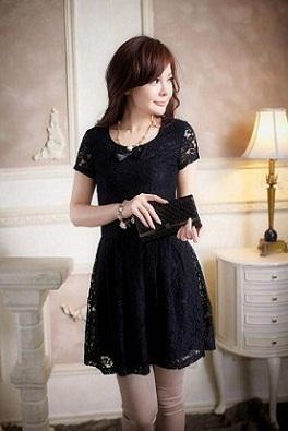 Vestido negro corto para boda de noche