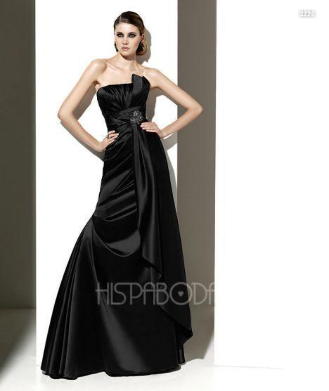 trajes largo color negro