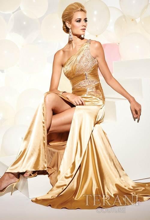 vestidos dorados brillantes 2012