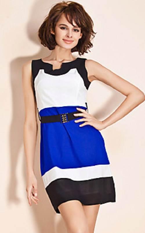 vestidos asimétricos de color azul