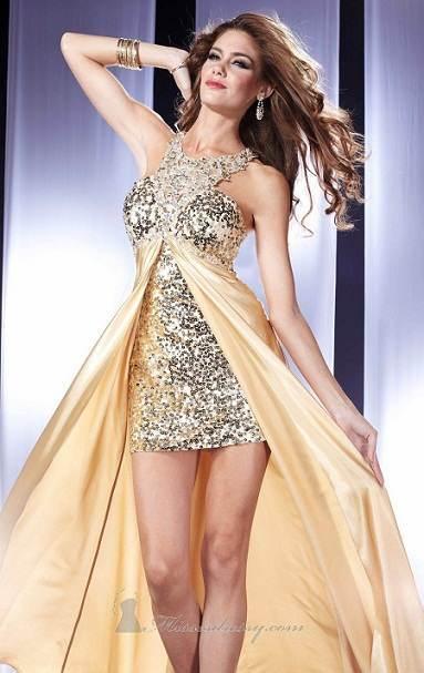 Modelos de vestidos dorados cortos