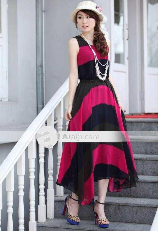 Vestidos largos combinados de colores