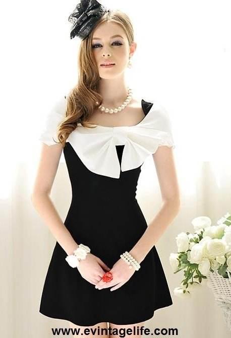 Vestidos negro con blanco para fiesta