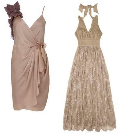 Vestidos de fiesta en tonos beige, muy elegantes