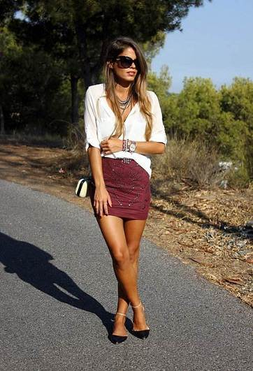 En la calle minifalda ajustada negra de una rica nalgona - 5 5