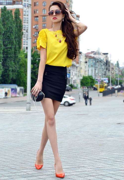 Vestidos combinados negro y amarillo
