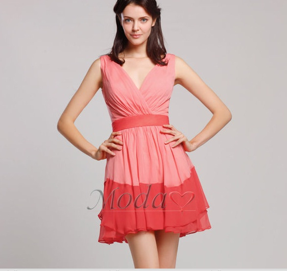 Vestidos elegantes combinados de dos colores