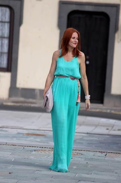 Vestidos largos azul aguamarina