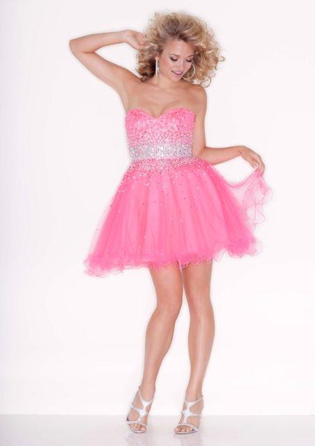 Vestidos cortos color rosa para quinceañeras
