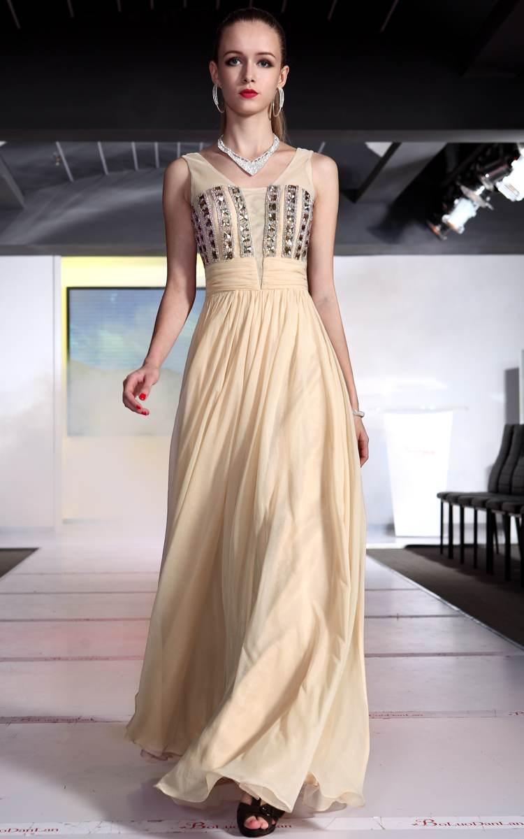 Vestidos elegantes color beige