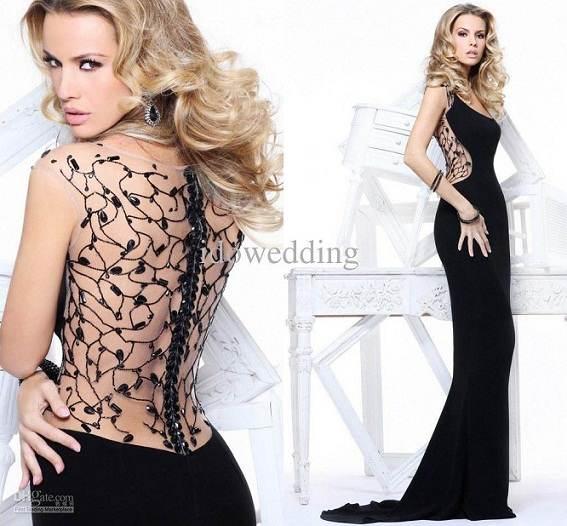 Modernos vestidos negros para fiestas 2013