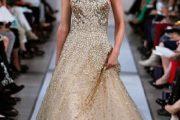 Vestido de novia en tonos dorados