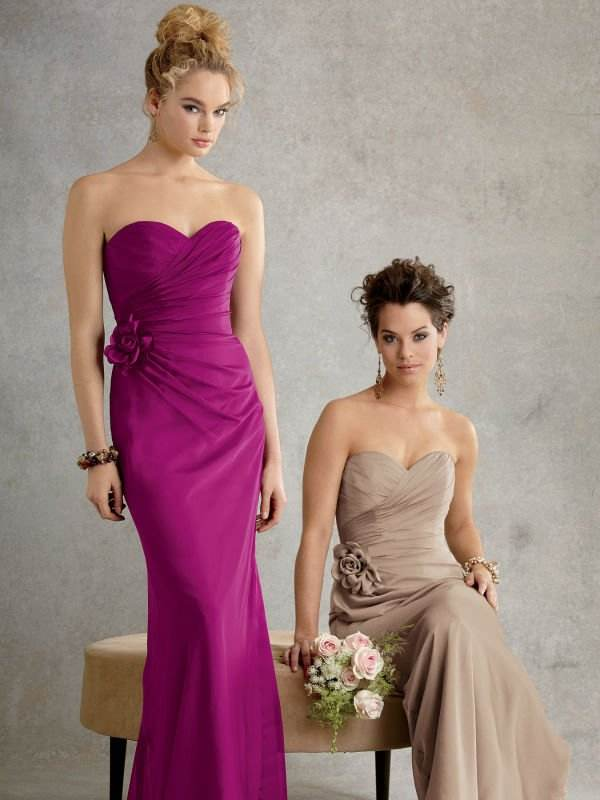 Vestidos elegantes y largos para damas de honor