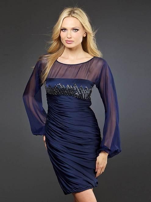 Vestidos de noche azul marino para gorditas