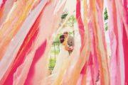 Decoración para bodas en color fucsia y dorado