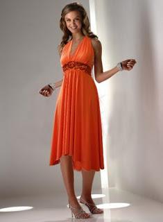 Hermosos vestidos de fiesta color naranja