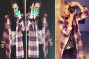 Un abrigo a cuadros que triunfa en los selfies