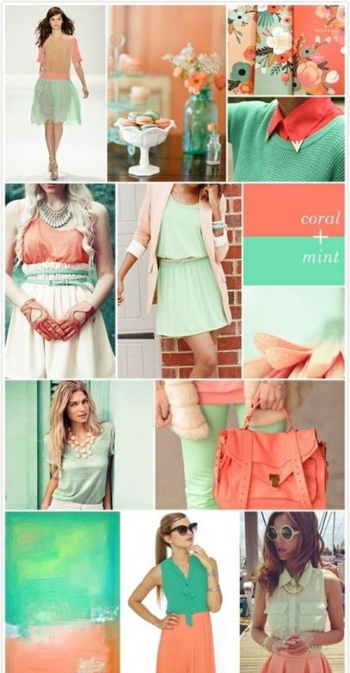 outfits polyvore coral