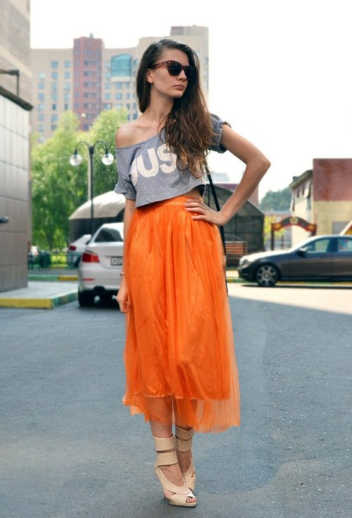 outfits color naranja moda verano