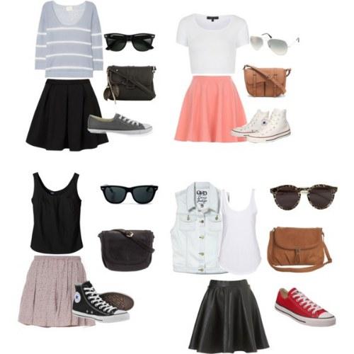 combinaciones outfits con faldas verano polyvore
