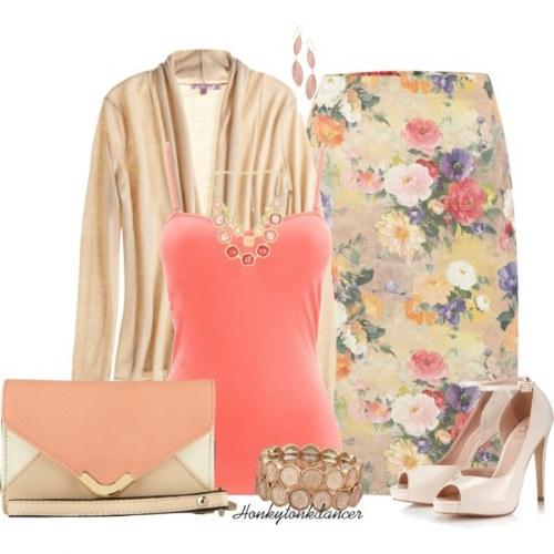 outfits polyvore faldas lapiz