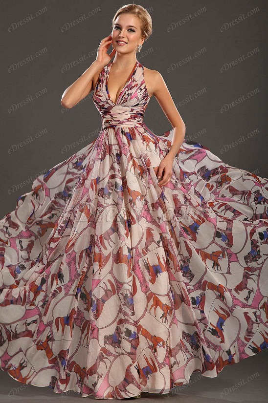 eDressit новое привлекательное ситцевое вечернее платье с бретелькой на шеи и глубоким V-деколь