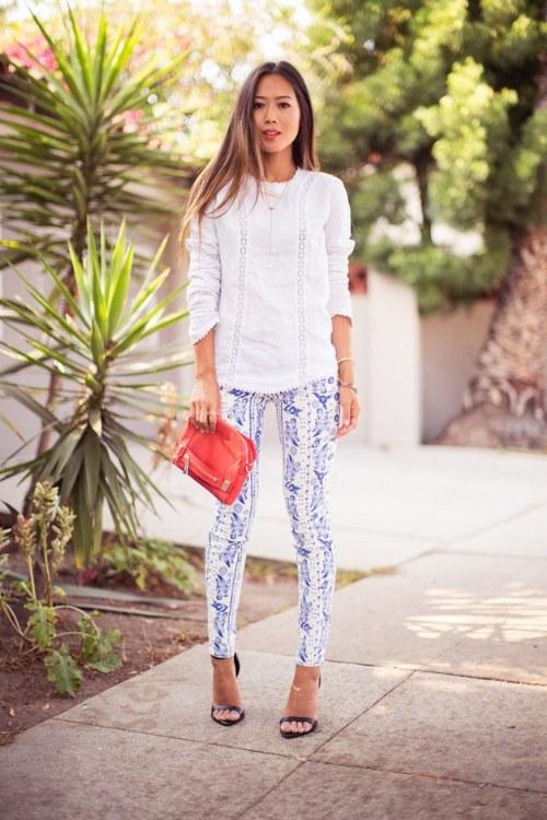 outfits pantalones de estampados verano