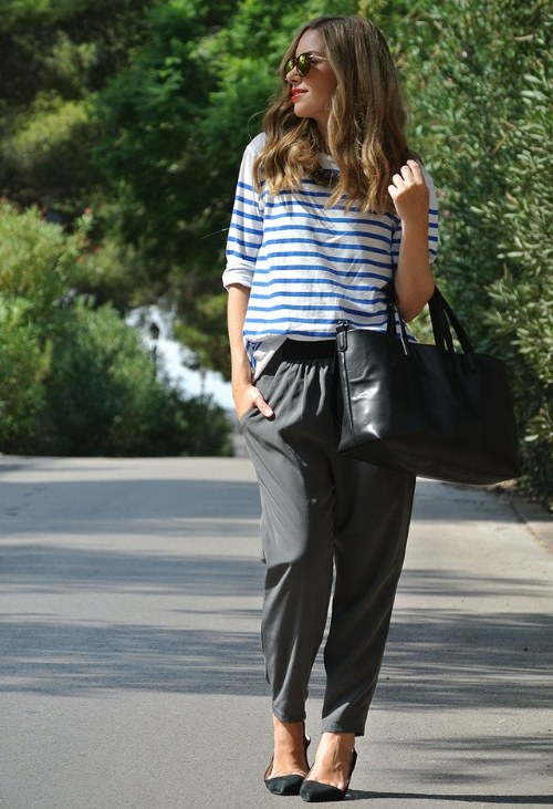 outfits pantalones holgados verano 2014