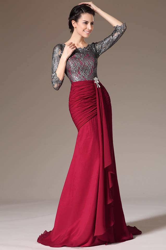 Preciosos vestidos de manga larga de encaje para fiestas