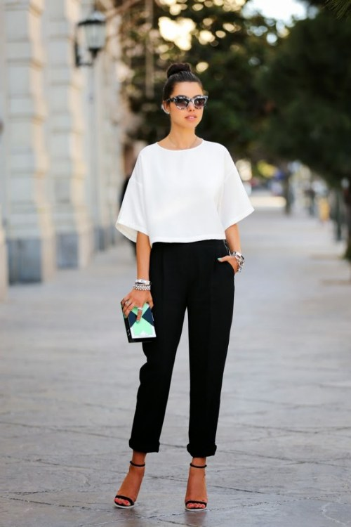 outfits tendencias blanco y negro
