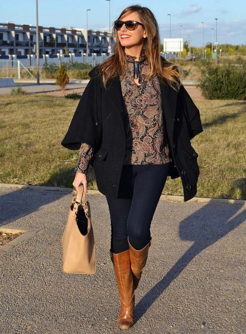 outfits con botas marrones moda otoño