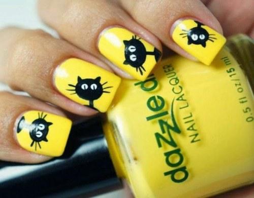 diseños para uñas color amarillas