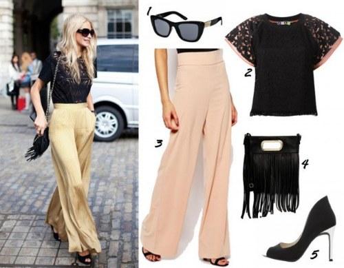 outfits polyvore pantalones palazzos