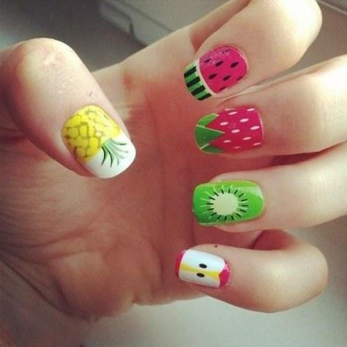 diseños frutas para uñas