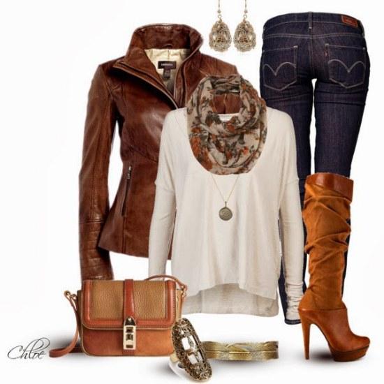 outfits chaquetas de cuero polyvore
