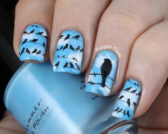 diseños uñas pajaros aves otoños