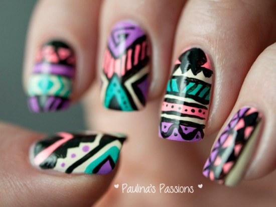 diseños manicure uñas tribales