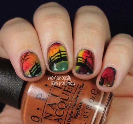 otoño moda uñas diseños