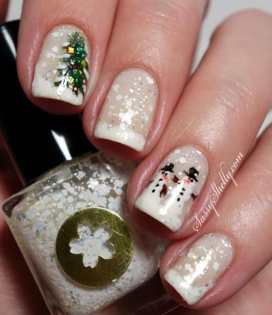 uñas nieve navidad diseños